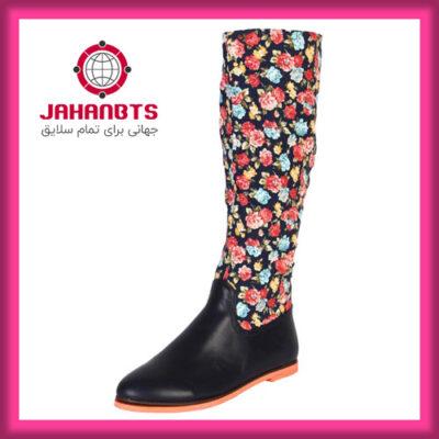 خرید و قیمت بوت زنانه گلدار مدل ساقه بلند