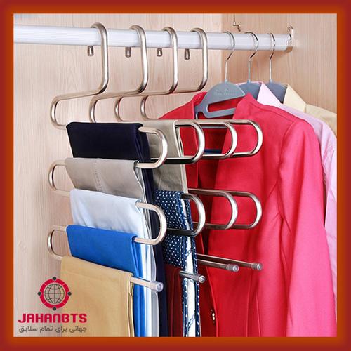 قیمت خرید پستی آویز شال و شلوار طرح مارپیچ Stainless Steel Multi Layer Trousers Hanger
