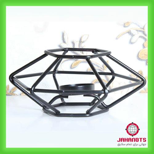 خرید اینترنتی پایه وارمر قوری فلزی شش ضلعی - جاشمعی فلزی مشکی