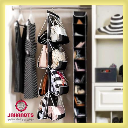 مشخصات خرید و قیمت آویز نظم دهنده کیف داخل کمد - ارگانایزر نگهدارنده کیف و کفش 4 طبقه