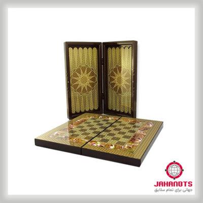 قیمت و خرید پستی تختهنرد و صفحه شطرنج چوبی طرح خاتمکاری
