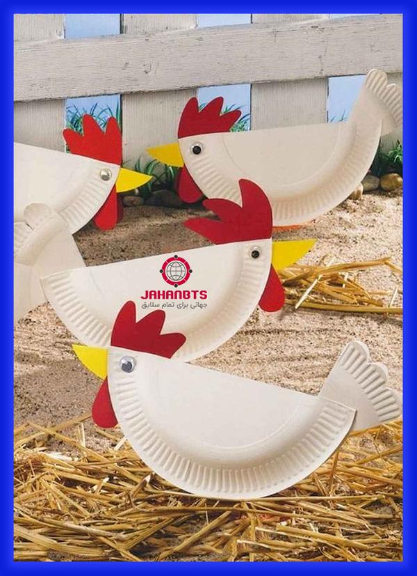 آموزش درست کردن کاردستی مرغ با ظورف یکبار مصرف
