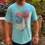 تیشرت آستین کوتاه مردانه یقه گرد آبی