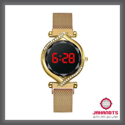 قیمت و خرید ساعت زنانه لمسی نگین دار بند مگنتی Luxury Lady